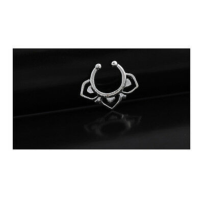 Silver Flower Stainless Steel Fake Nose Ring Septum Stud Ring Hoop CZ Crystal