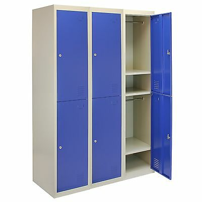 3 x Metal Lockers 2 Doors Steel Flatpack Storage Lockable Gym School Blue 45cm D