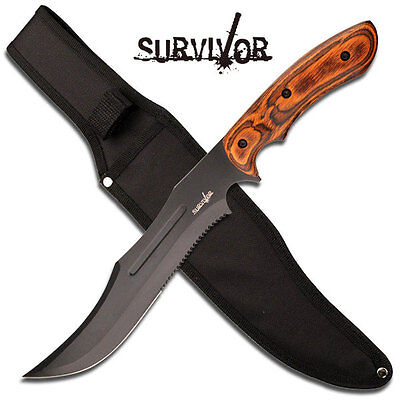 "SURVIVOR BIG 15"" (38cm) Bowie Knife Hunting / Military Knife with Wood Handle"