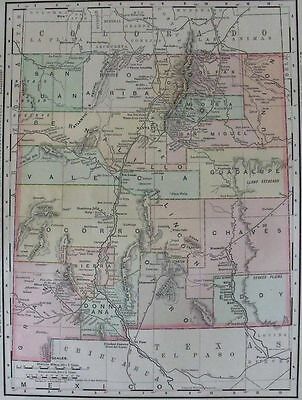1899: New Mexico, Nm Counties, Pacific Divide, Roads. Original Antique State Map