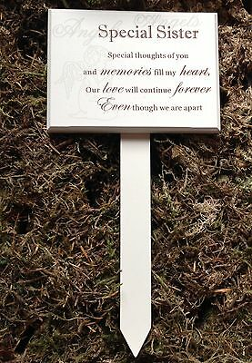 Memorial For Special Sister Wooden Grave Stick, Stake Ornament Tribute