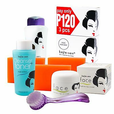 Kojie San Face & Body Complete Whitening Set Soap, Lotion, Cream,Cleansing Brush