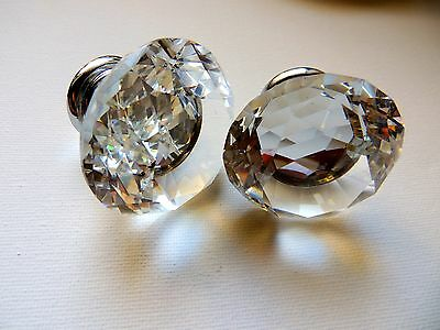 NEW 2 X 40mm Diamond Clear Crystal Glass Door Pull Drawer Knob Handle Cabinet