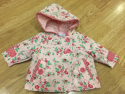 Babaluno baby girls jacket/coat. Hooded, Floral. Newborn
