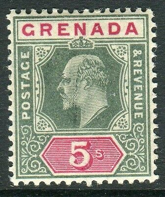 GRENADA-1902 5/- Green & Carmine.  A lightly mounted mint example Sg 65