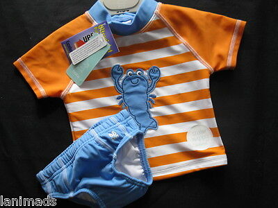 BNWT- LOBSTER Orange Set Swim Nappy Baby Boys Bathers Size 000 00 0 1 UPF 50+