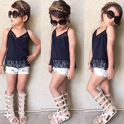 Toddler Kids Baby Girls T-shirt Tops+Denim Pants Shorts Outfits Clothes 2PCS Set