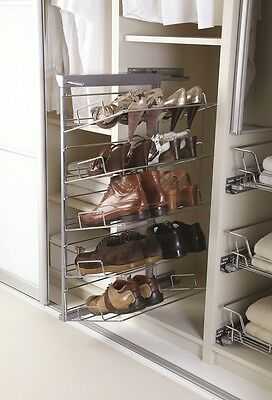 Soft closed pull-out 3-5 tier shoe rack Polished Chrome To Suit 400mm Cabinet