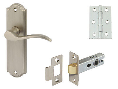 SYWELL Door Handle Pair Complete Sets Latch Lock Or Bathroom Chrome Or Satin
