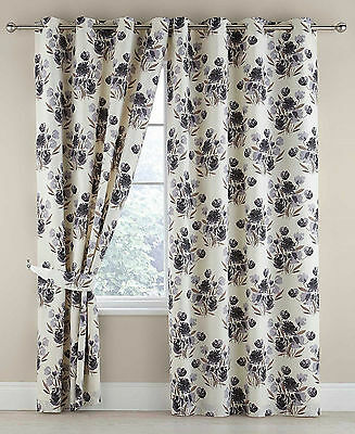 Blackout Floral Grey Luxury Ring Top Eyelet Ready Made Lined Curtains