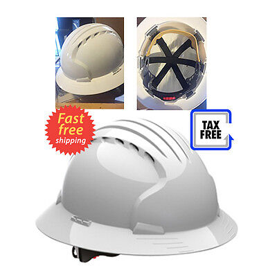 Hard Hat Full Brim White Vented With HDPE Shell 6 Point Suspension Hard Hat