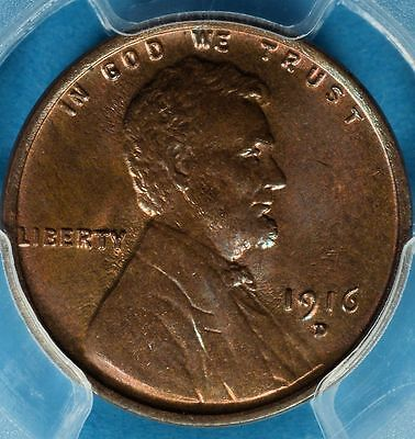 1916-D Lincoln Wheat Cent PCGS MS64BN- Very Nice Patina, Eye Appeal