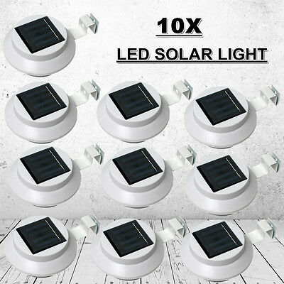 10x 3 LED Solar Power Gutter Fence Lights Outdoor Garden Yard Wall Pathway Lamp