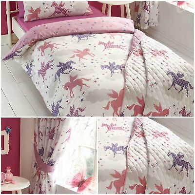 Girls Divine Unicorns Duvet Quilt Cover Bed Sets OR Curtains OR Bedspread Throw