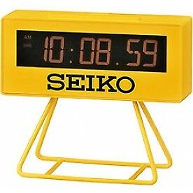 Seiko QHL062Y Countdown Style Sports Timing Clock Yellow - Brand New!