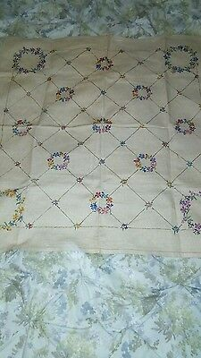 Vintage Hand Embroidered Tablecloth - Floral and Beautiful!!