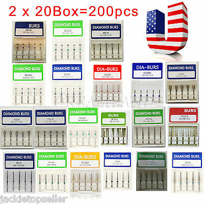 200 Pcs Dental Diamond Burs For High Speed Handpiece Medium FG 1.6mm From USA
