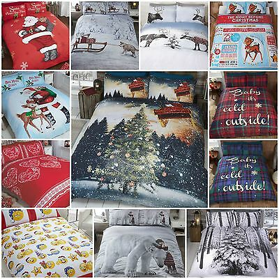 Xmas Christmas Theme Duvet Quilt Cover Bedding Sets - Single, Double & King Size
