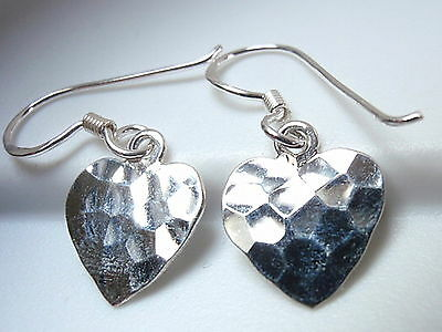 e975f1737 Small Hammered Hearts Dangle Earrings 925 Sterling Silver Corona Sun Jewelry