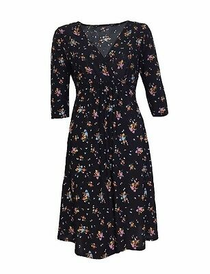 Asos Maternity Crossover Nursing Floral Black Tunic Dress Size 8 10 14 16 (D1.1)