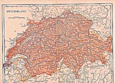 Original 1898 Antique, Color Map of Switzerland