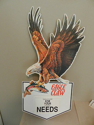 Vintage Advertising Sign- Eagle Claw 2-Sided Sign- Vintage Fishing Lure- Boating