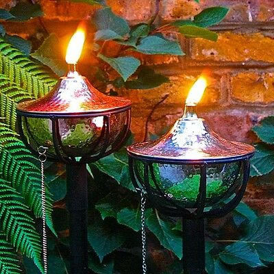 Pair Of Oil Burning Garden Lanterns - Hammered Bowl