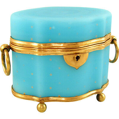 Antique French Blue Opaline Glass Gilt Hand Painted Bronze Jewelry Box Casket