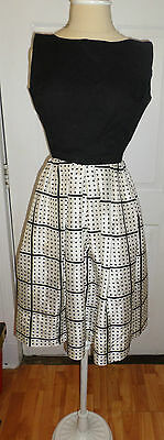 VTG 1950s  Cocktail Party dress Black White Formal Polka Dot Chiffon Skirt Small