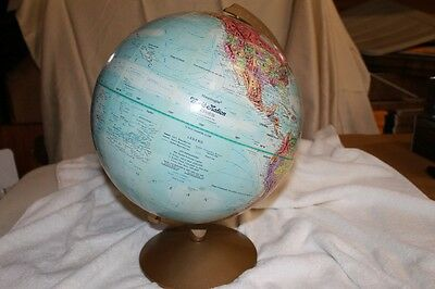 "Vintage REPLOGLE 12"" DIAMETER WORLD NATION SERIES GLOBE On Metal Stand"