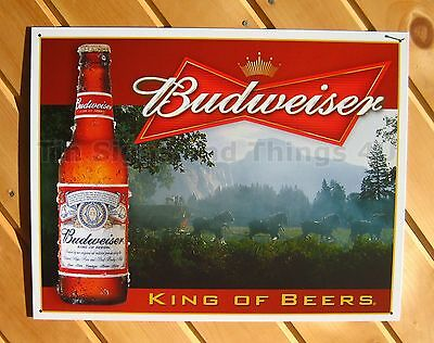 Budweiser King of Beers TIN SIGN horses vintage bar metal poster wall decor 1282