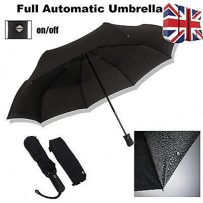 Heavy Duty Large Super Compact Folding Umbrella Windproof Unisex Black CE UK