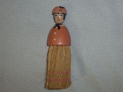 Vintage Wooden Figural Woman Figure Brush Victorian Lady Vanity Antique Crumb 6""