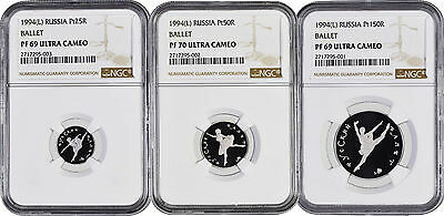 Set Of 3 1994 (L) Ballet Ballerina Platinum Russia Rouble NGC PF69 PF70 UC w/ CO