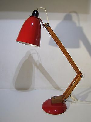 VINTAGE MACLAMP by CONRAN HABITAT RETRO DESK LAMP RED WOODEN ARMS LIGHT 50s 60s