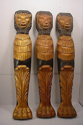3 THREE Vintage Architectural LIONS HEADS Gold Painted Legs Salvage