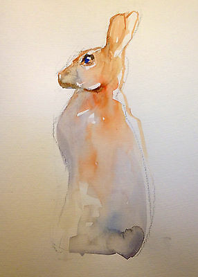 Original Watercolour Painting of a Hare Upright A4