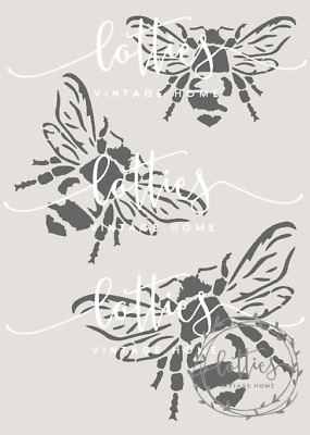 STENCIL A5 BUMBLE BEES ❤️ Furniture Fabric Arts  ❤️ Vintage Shabby Chic Makeover