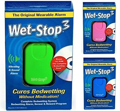 Wet-Stop3 Green Bedwetting Enuresis Alarm with Sound and Vibration, Moisture or