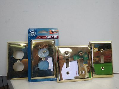 Vintage Brass Finish Double Light Switch Plate Cover Outlet Shiny Art Deco H731J