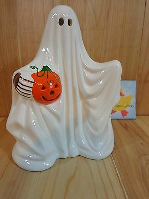 "GHOST CANDLE HOLDER 8"" White with Pumpkin Ceramic Tealight or Votive Halloween"