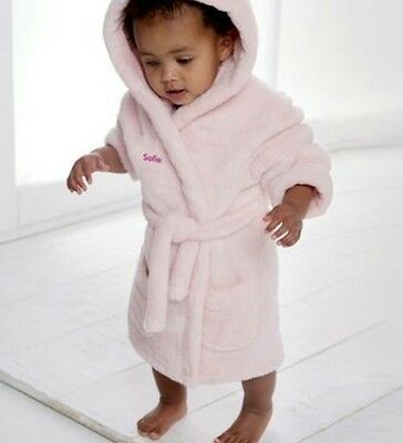 Pink Super Soft Embroidered Personalised Baby Dressing Gown Bathrobe 12-24 Month