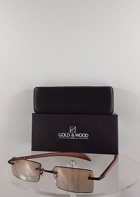 dc5a4220a60 Brand New Authentic Gold and Wood Sunglasses A06 33 AcRc32 Rimless Brown  Frame