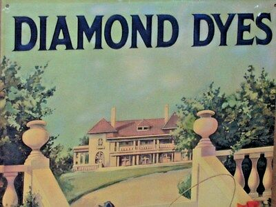DIAMOND DYE CABINET TIN Door SIGN -Shows 5 Victorian Children Playing by Mansion