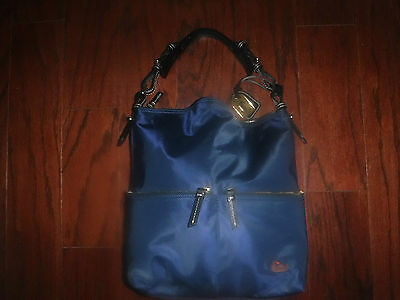 Dooney & Bourke Navy Blue 2 Zip Pocket Hobo Handbag