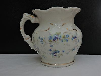 """Antique Etruria Mellor & Co. Small Pitcher- Blue & White Flowers 3.875"""" Tall"""