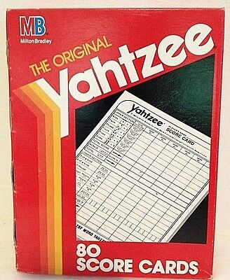 VINTAGE Yahtzee Score Pads 80 Cards Board Game Hasbro 06100 UnOpened