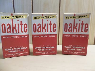 Lot of 3 Vintage Oakite Cardboard Box Cleaning Detergent Soap 10 oz Box Unopened