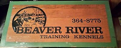"2' by 11"" Two Sided Vintage Wooden Beaver River Training Kennels Sign - Dog Pets"