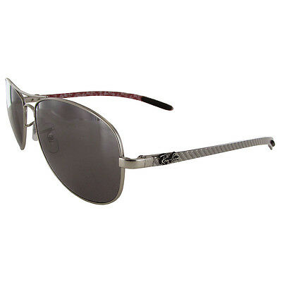 Ray Ban Mens RB8301 Polarized Aviator Sunglasses, Matte Silver/Grey Mirror